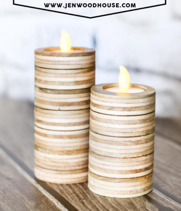 Build Candle Holders from Plywood using free plans.