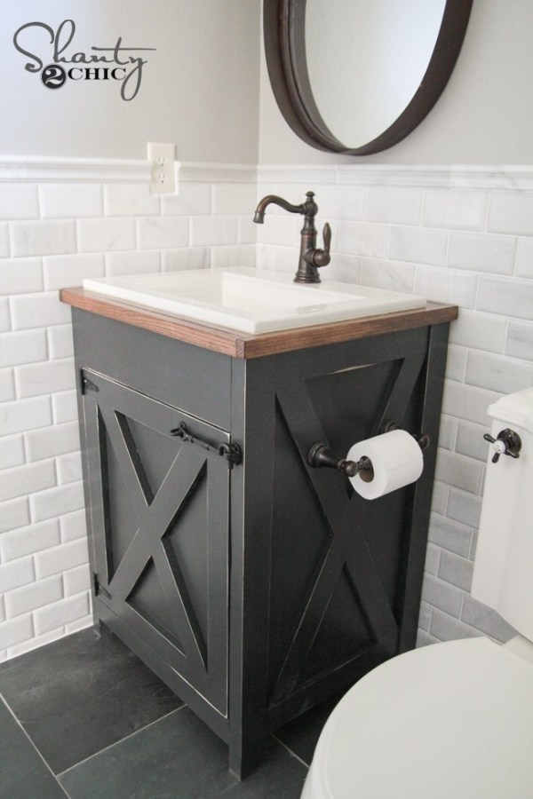 Build a Farmhouse Bathroom Vanity.