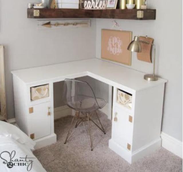 Build a Corner Desk using downloadable plans.
