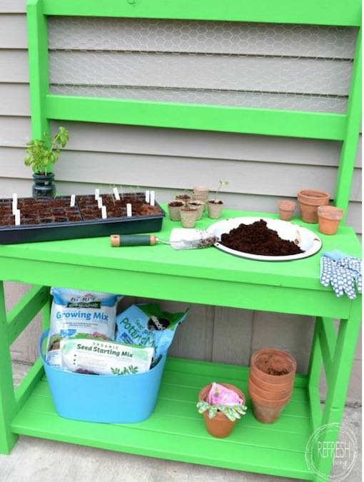 Build a Potting Bench From 2 x 4s.