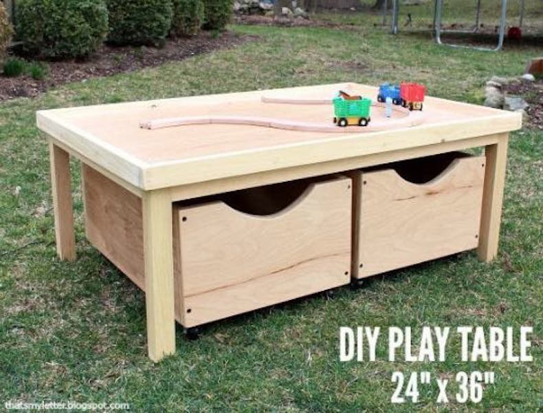 Free plans to build a Play Table with Storage Bins.