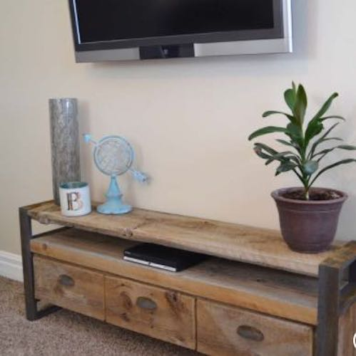 Build this Rustic Media Console Table using free plans.