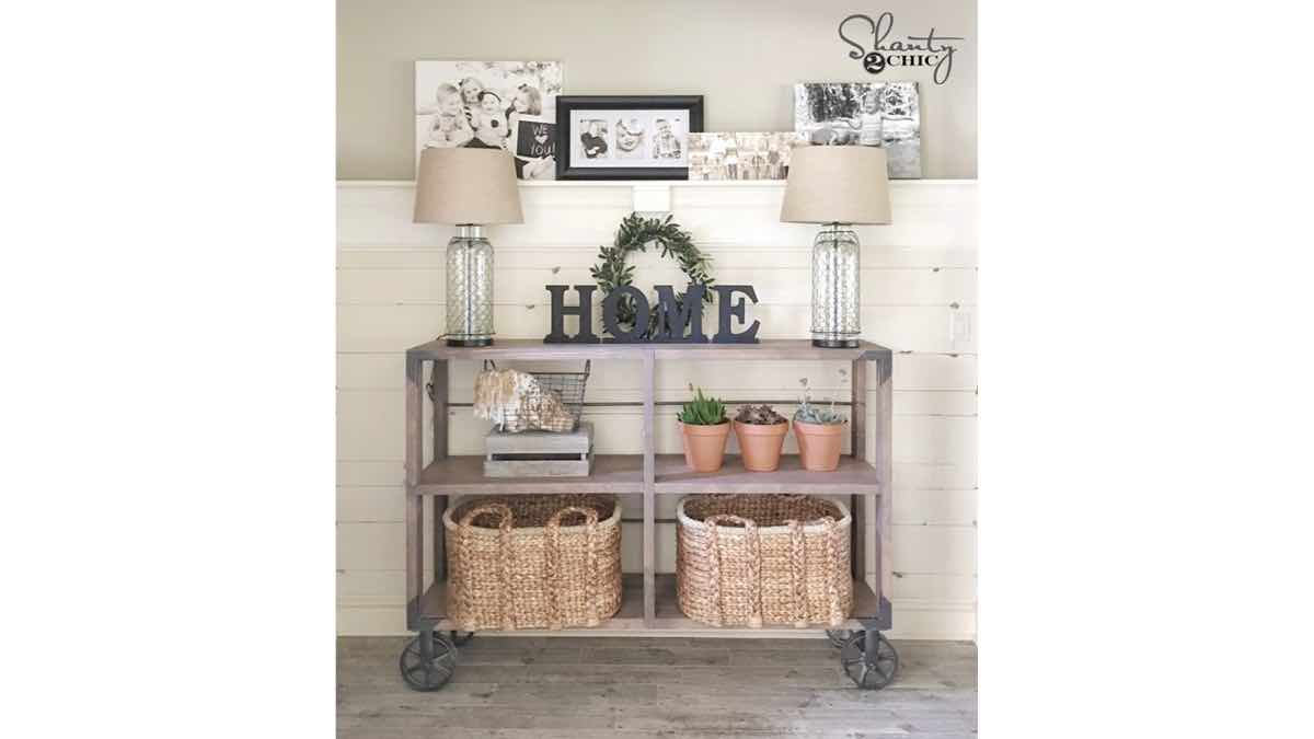 console tables,industrial styles,diy,free woodworking plans,free projects,do it yourself