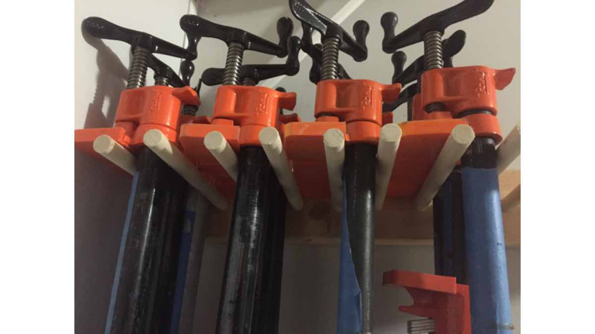 pipe clamp racks,workshop storage,wall mounted,diy,free woodworking plans,free projects,do it yourself