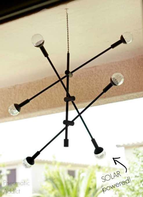 Free plans to build an Outdoor Solar Chandelier.