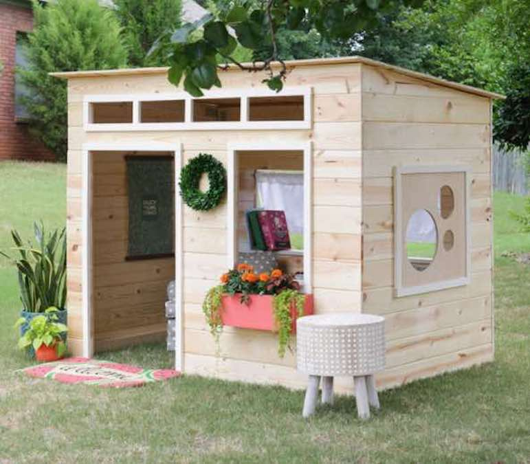Build a Tongue And Groove Playhouse using free plans.