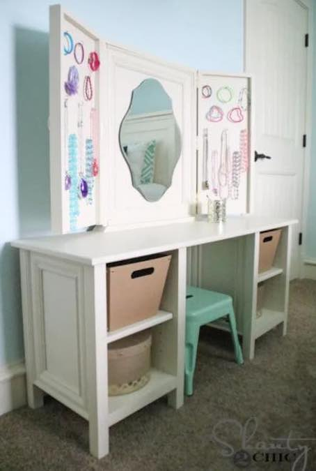Build a Kids Size Vanity using free plans.