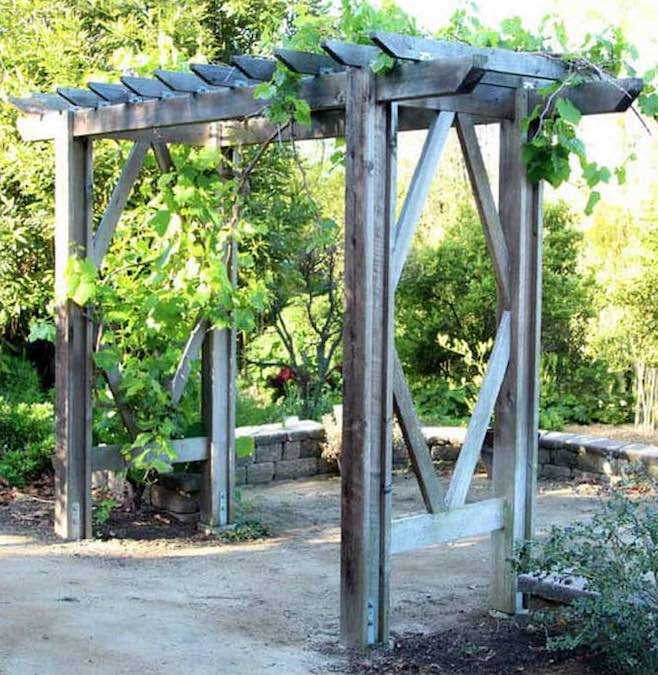Build a backyard arbor using free woodworking plans.