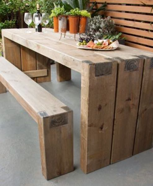 Free plans to build Outdoor Table and Benches.
