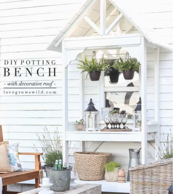 Build a Potting Bench with Decorative Roof using free plans.