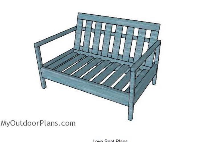 Free plans to build a Loveseat For The Patio.