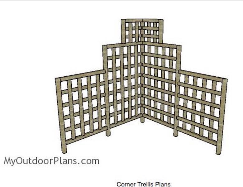 Free plans to build a My Outdoor Corner Trellis.
