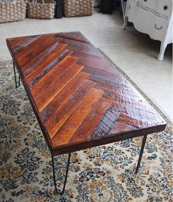 Free plans to build a Herringbone Coffee Table.