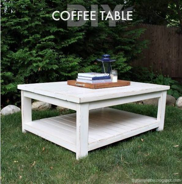 Free plans to build a Coffee Table With Lower Shelf.