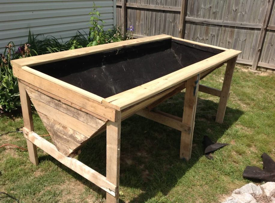 Free plans to build a Raised Garden Bed from Pallets.