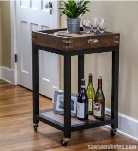 Free plans for a Bar Cart with Removable Tray.
