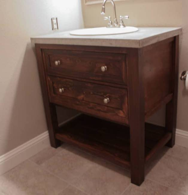 Build a compact bathroom vanity with storage.
