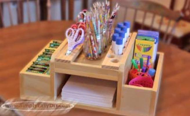 Free plans to build an Art Supply Station.