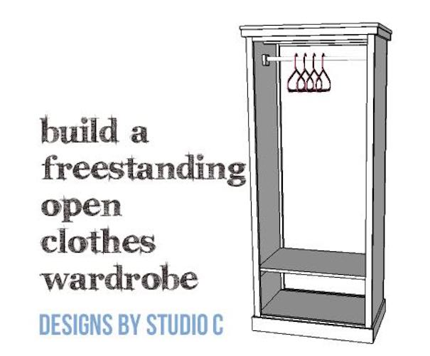 Build an Open Clothes Wardrobe using free plans.