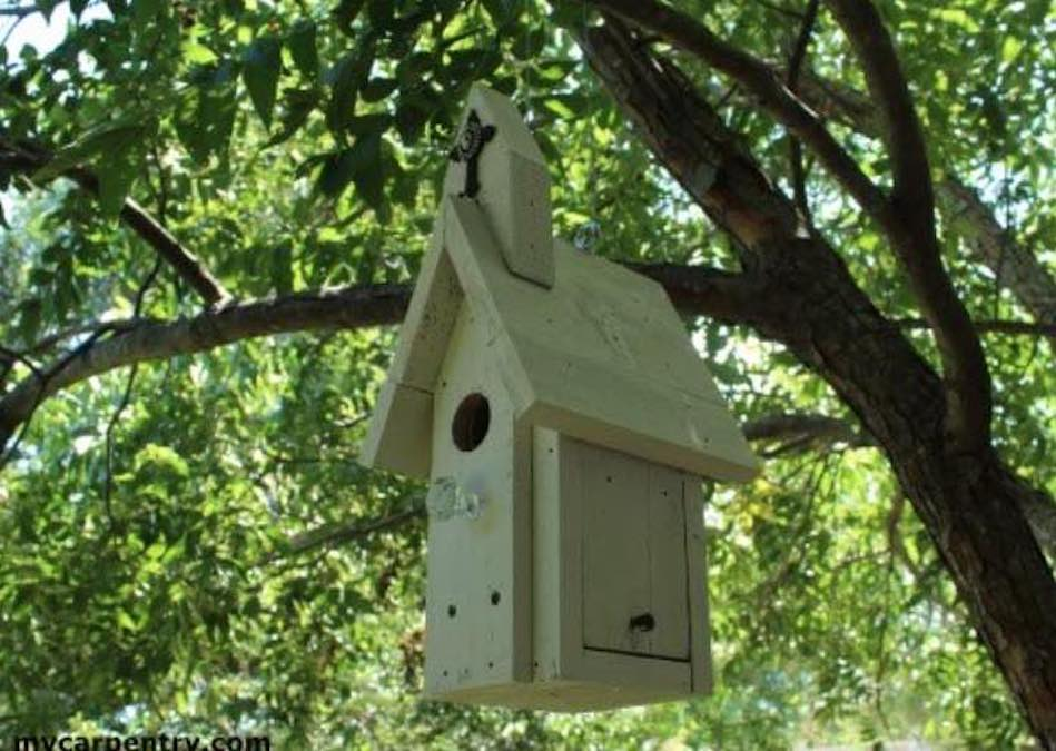 Free plans to build a Church Birdhouse.