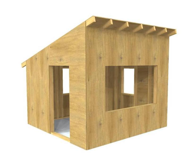 Build a Playhouse 8 x 8 using free plans.