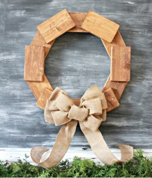 Build a Rustic Scrap Wood Wreath using free plans.