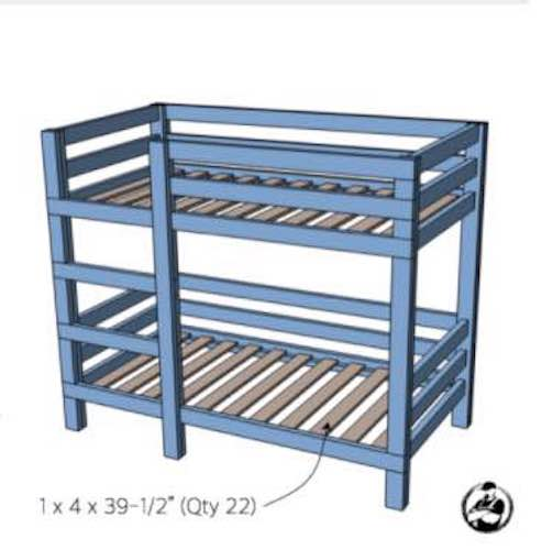 Build 2 x 4 Bunk Beds using free plans.