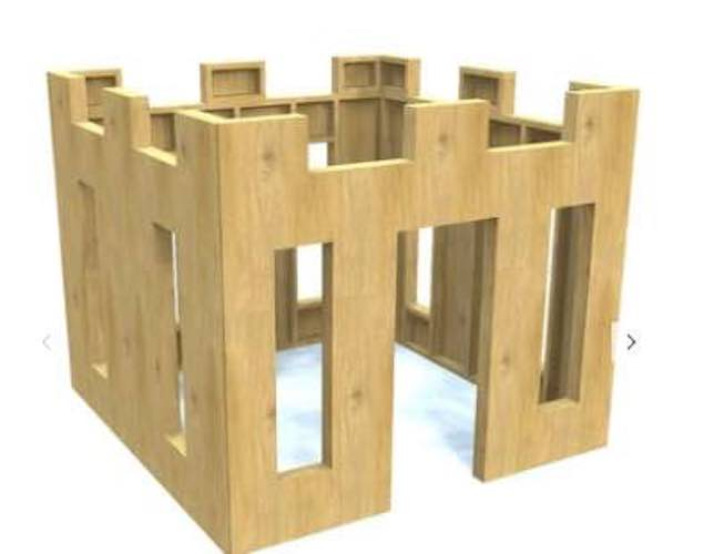 Free plans to build a Castle Playhouse.