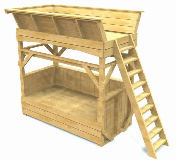Free plans to build a Bench and Loft Bed.
