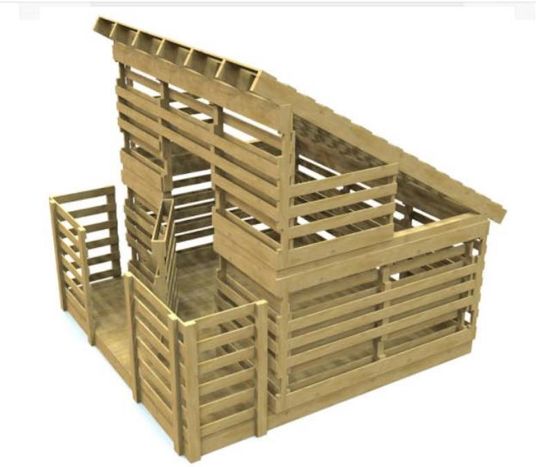 Build a Pallet Playhouse using free plans.