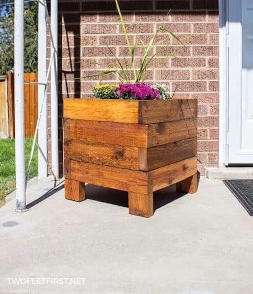 Build a Simple Square Planter Box using free plans.