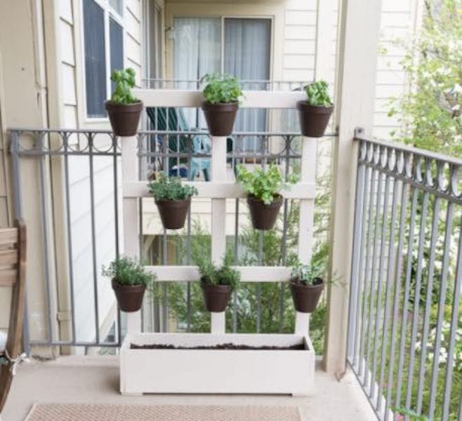 Build a Vertical Balcony Planter using free plans.