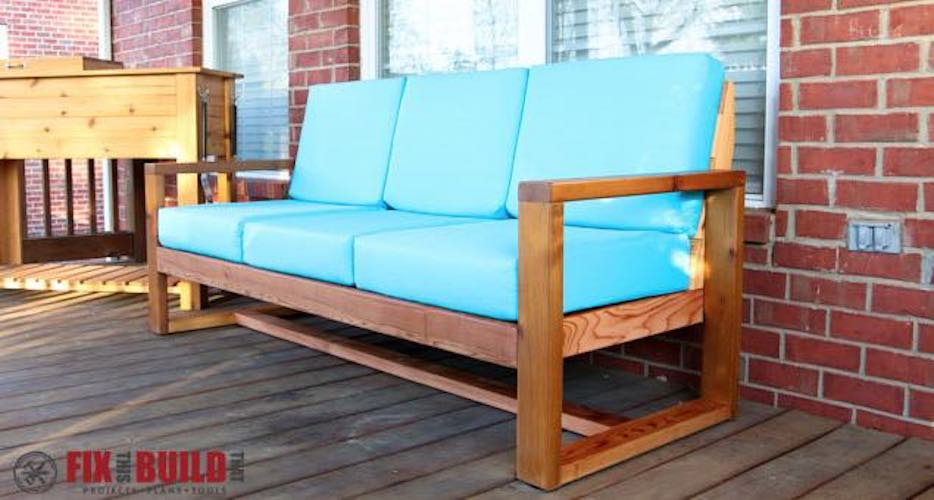 Build a Modern Wood Outdoor Sofa using free plans.