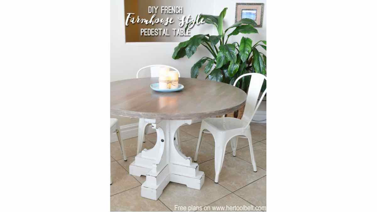 round tables,pedestal tables,farmhouse,furniture,diy,free woodworking plans,free projects,do it yourself