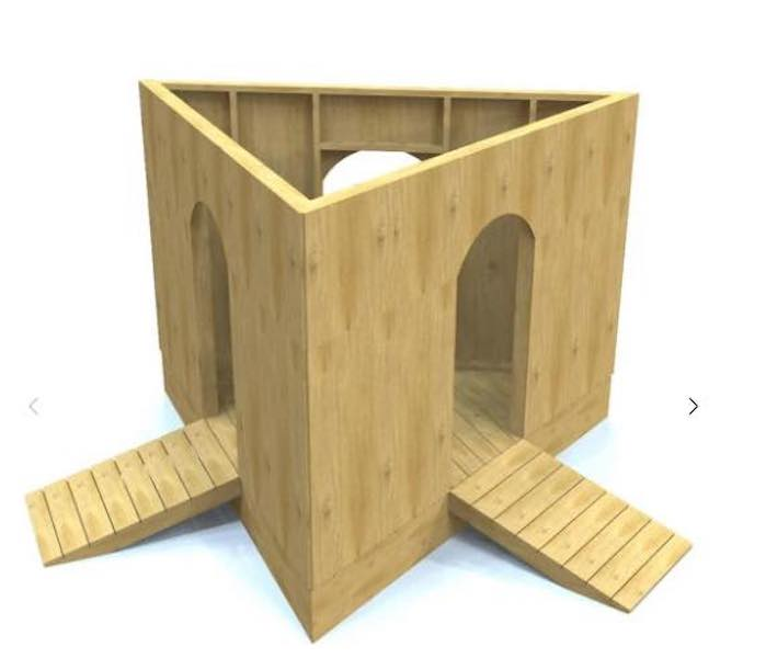 Build a Triangle Terrace Playhouse using free plans.