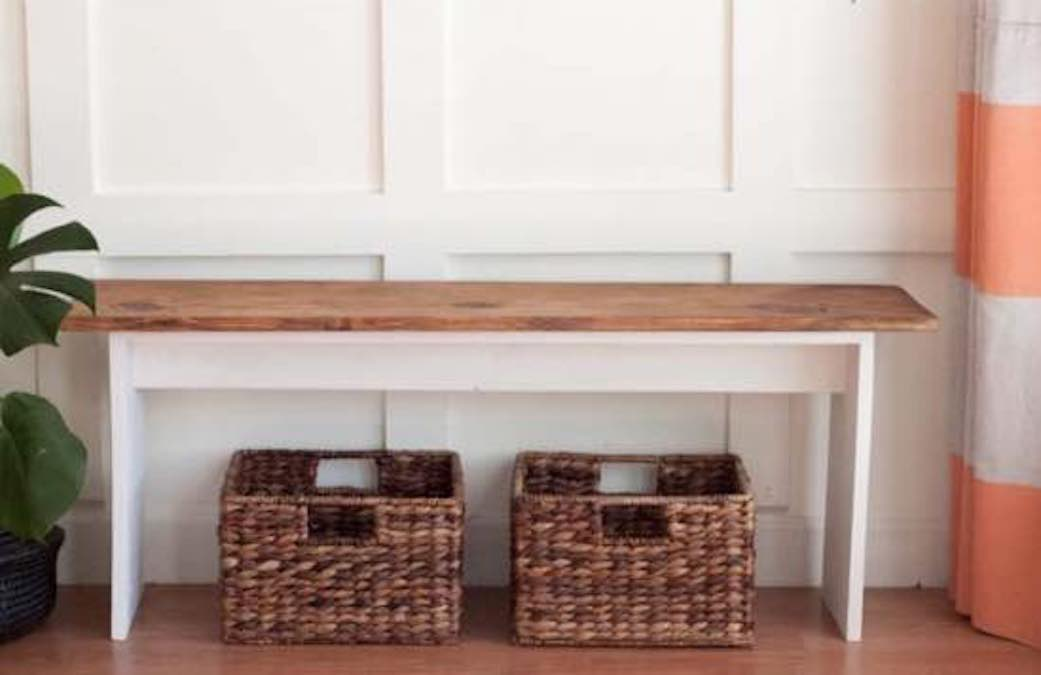 Build a Farmhouse Bench for your hallway with free plans.