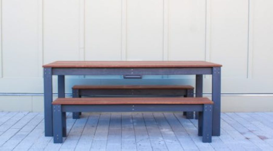 Free plans to build an Outdoor Dining Table with Benches.