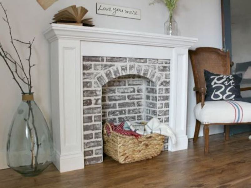 Build a Faux Fireplace using free plans.