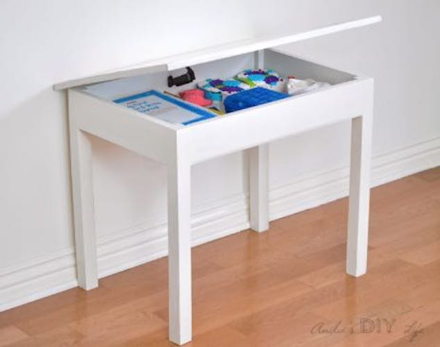 Free plans to build a Kids Table with Storage.