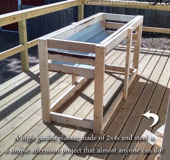 Build a High Raised Garden Planter using free plans.