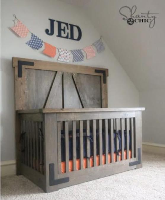 Build your own Farmhouse Crib using free plans.