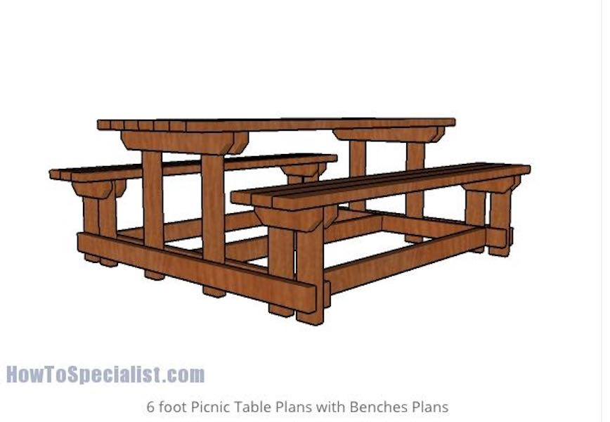 Free plans to build a Picnic Table With Attached Benches.