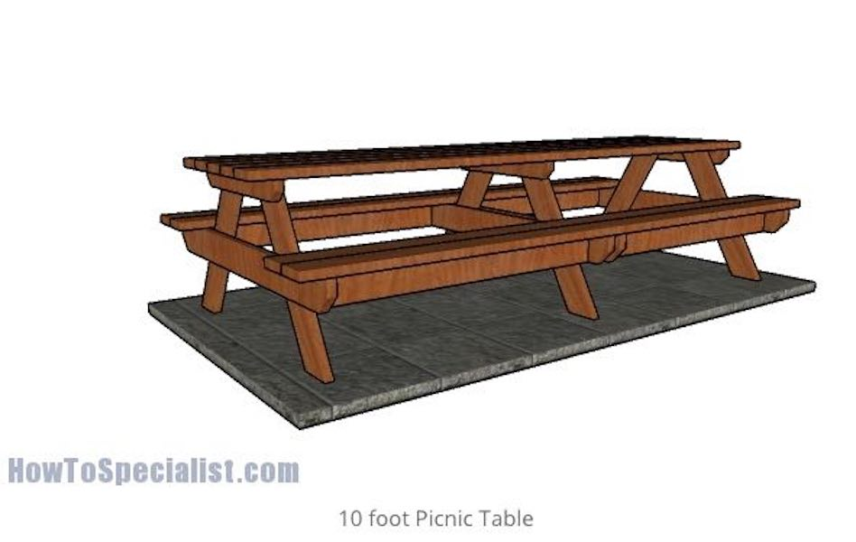 Build a 10 Foot Picnic Table using free plans.