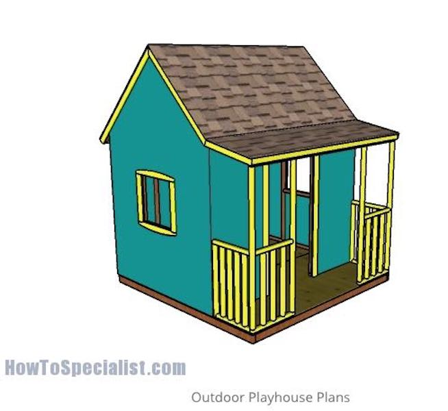 Free plans to build an Outdoor Playhouse.