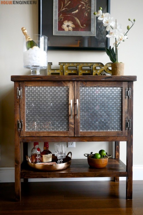 Build a Bar Cabinet using these free woodworking plans.