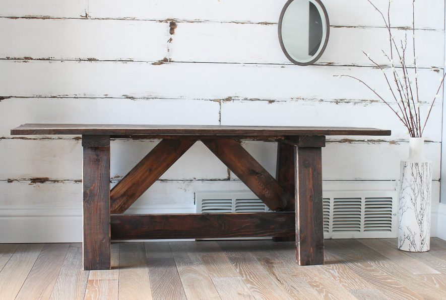 Free woodworking plans to build a Farmhouse Bench.