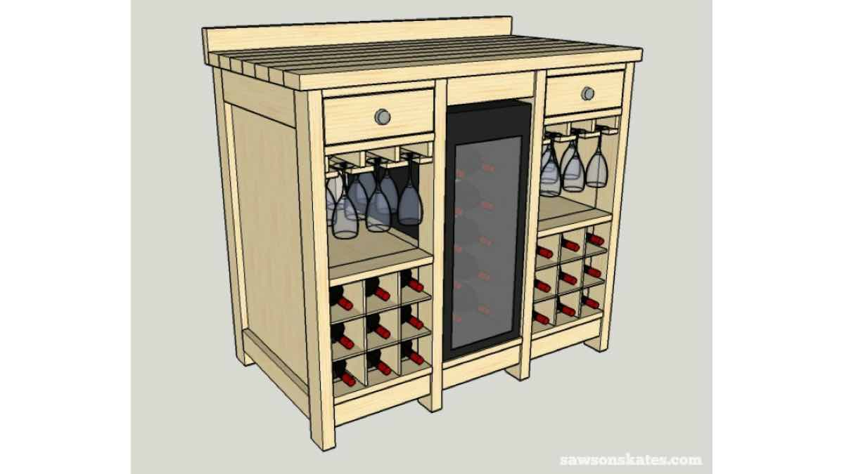 wine racks,wine cabinets,wine fridge,diy,free woodworking plans,free projects,do it yourself