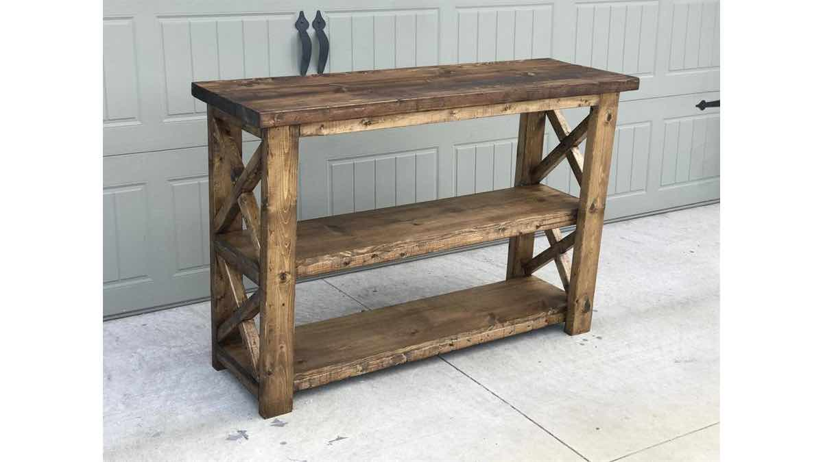X console table,furniture,diy,free woodworking plans,free projects,do it yourself