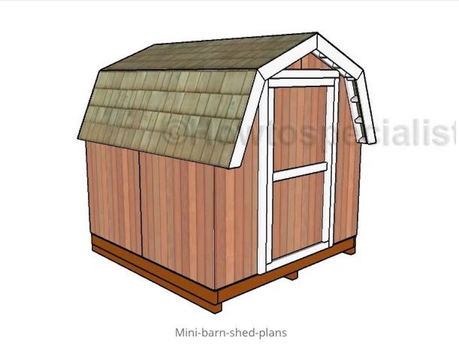 Build a Mini Barn Shed using free plans.
