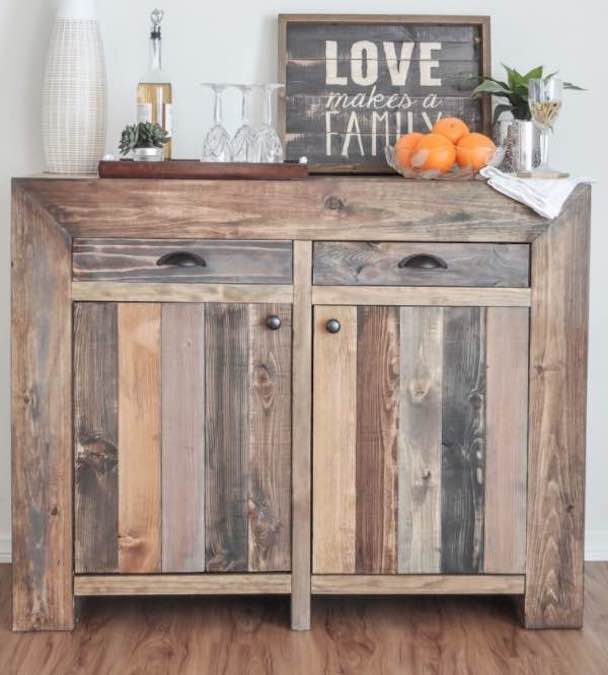 Free plans to build this small buffet cabinet.
